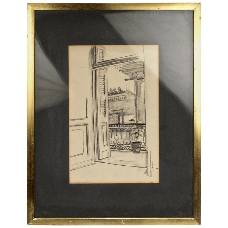 Charcoal Drawing of a View from a Balcony by Lambro Ahlas For Sale