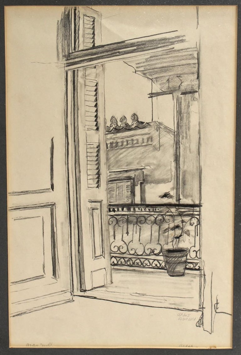 A view from a balcony by Lambro Ahlas.  Charcoal pencil on paper. Matted in a black matte under glass in a thin gilt frame.  Ahlas was a California-born artist of Greek ancestry. He was trained at the California College of Arts and Crafts and
