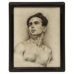 Charcoal Drawing of a Young Man by P. Bonamini
