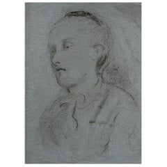 Charcoal Drawing on Blue Paper by William Wardlaw Laing, C.1880