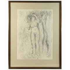 Charcoal Drawing Woman under the Tree by Dommisse