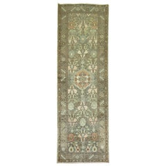 Charcoal Green Brown Traditional Wool Persian Malayer Oriental Runner