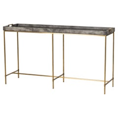 Charcoal Grey Console Table with Brass Finish