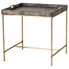 Charcoal Grey Side Table with Brass Finish