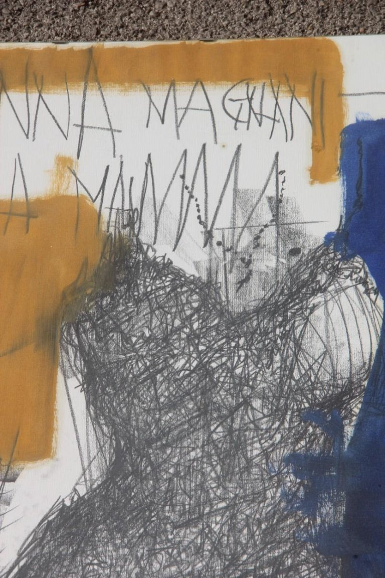 Charcoal on Paper and Mixed Technical Tempera Italian Films Cinema Movie 1970s  For Sale 4