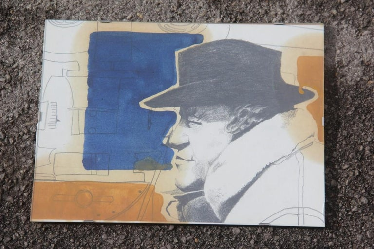 Charcoal on Paper and Mixed Technical Tempera Italian Films Cinema Movie 1970s  In Good Condition For Sale In Palermo, Sicily