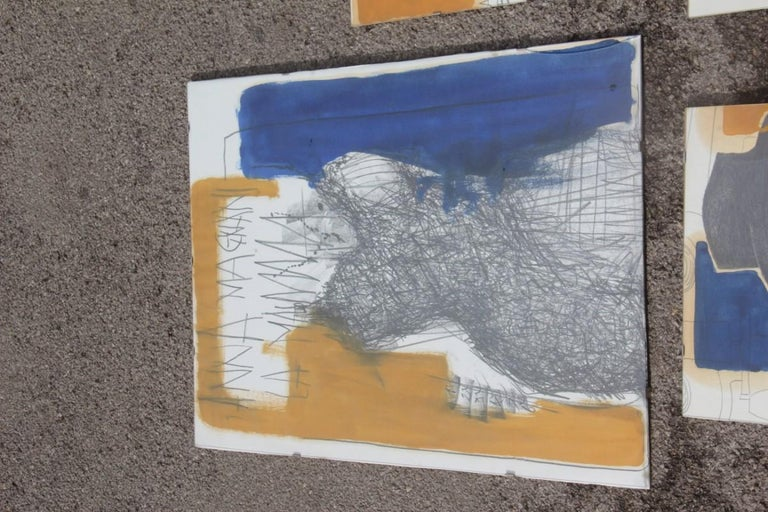 Paint Charcoal on Paper and Mixed Technical Tempera Italian Films Cinema Movie 1970s  For Sale