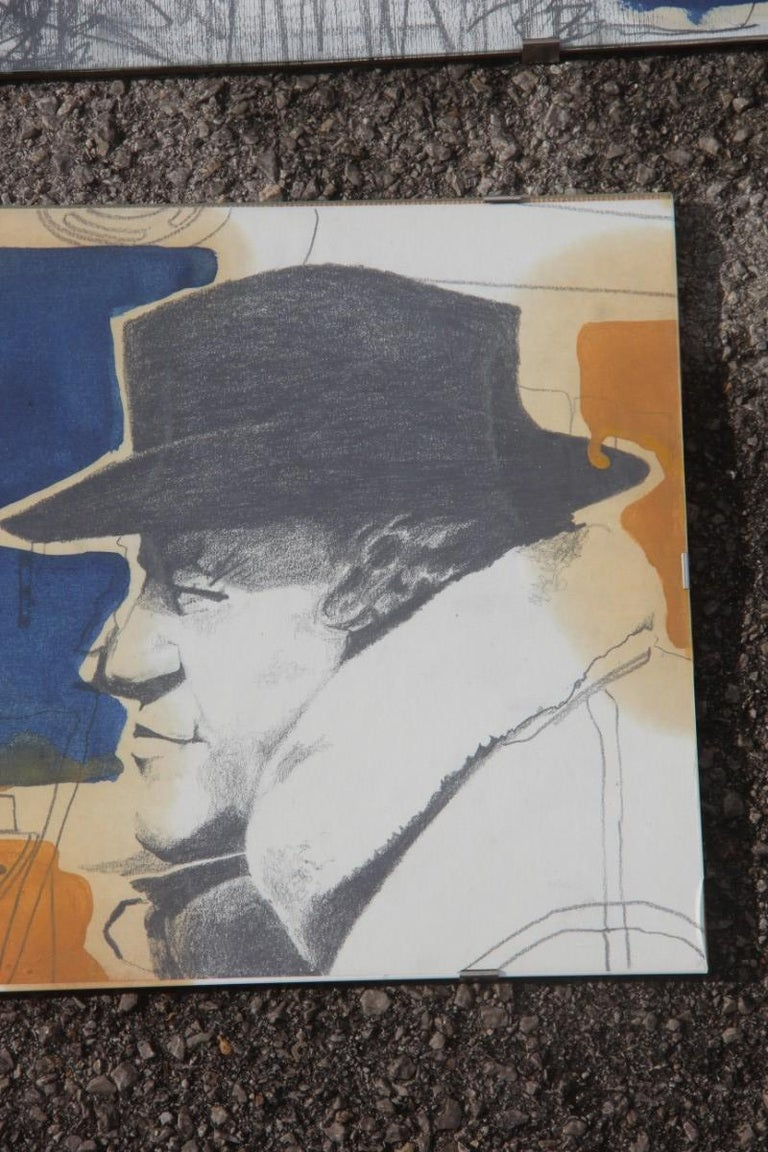 Charcoal on Paper and Mixed Technical Tempera Italian Films Cinema Movie 1970s  For Sale 2