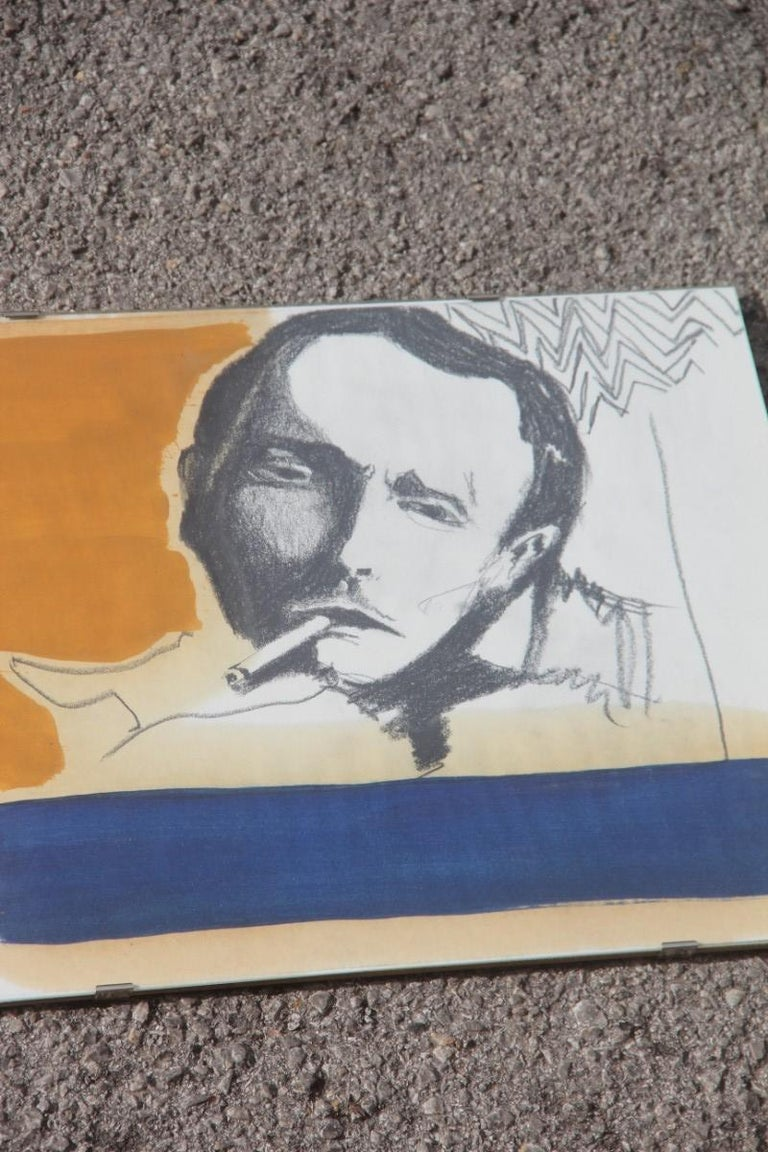 Charcoal on Paper and Mixed Technical Tempera Italian Films Cinema Movie 1970s  For Sale 3