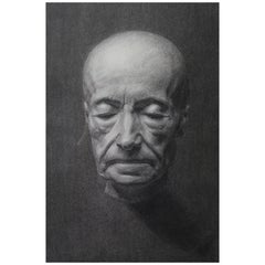 Charcoal on Paper Portrait of a Death Mask 1993, Manner of Mo Rdicat Figurative