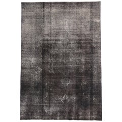 Distressed Vintage Turkish Overdyed Rug with Modern Industrial Bauhaus Style