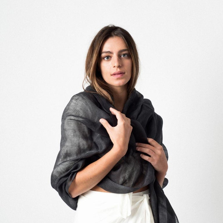 Custom design by Studio variously, CHARCOAL is a classic scarf / wrap / shawl made in pure linen by master artisans in Nepal.  A sustainable design brand based out of Michigan, Studio Variously exclusively collaborates with artisan communities to