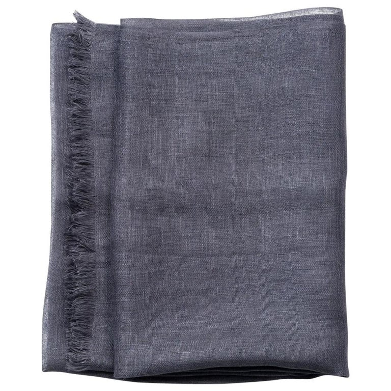 CHARCOAL  Linen Scarf For Sale