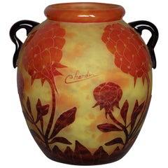 Charder Le Verre Français 'Pivoines' Cameo Glass Two-Handled Vase, circa 1925
