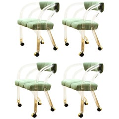 Chares Hollis Jones Modern Lucite Armchairs on Casters