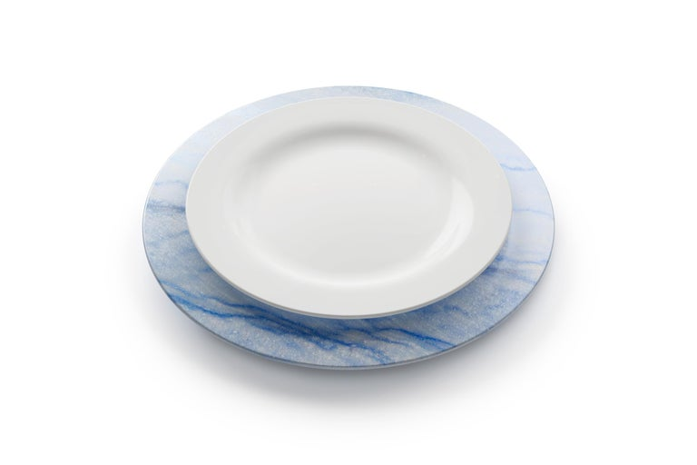 Hand-Carved Charger Plate in Blue Azul Macaubas Contemporary Design by Pieruga Marble Italy For Sale