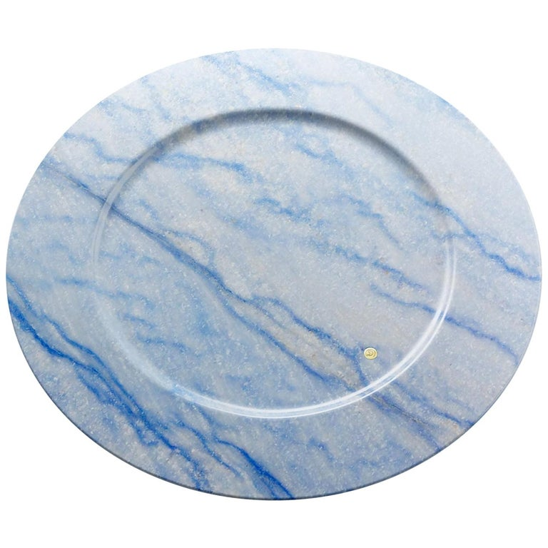 Charger Plate in Blue Azul Macaubas Contemporary Design by Pieruga Marble Italy For Sale