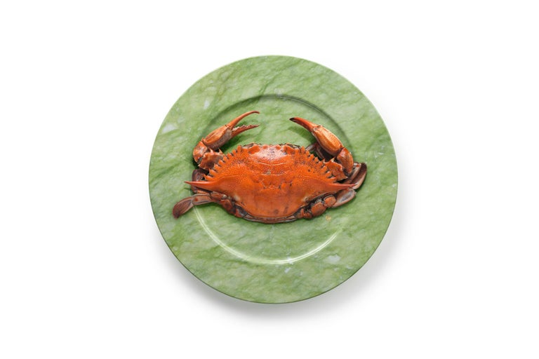 Hand carved charger plate from Green Ming marble. Multiple use as charger plates, plates, platters and placers. Dimensions: D 33, H 1.8 cm.  Pieruga proudly creates elegant accessories and complements in marble through artisanal processes, bringing