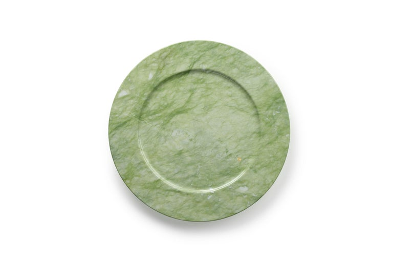 Italian Charger Plate in Green Ming Marble Contemporary Design by Pieruga Marble, Italy For Sale