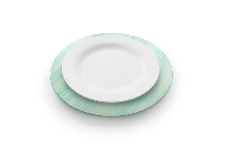 Italian Charger Plate in Green Quartzite Contemporary Design by Pieruga Marble, Italy For Sale
