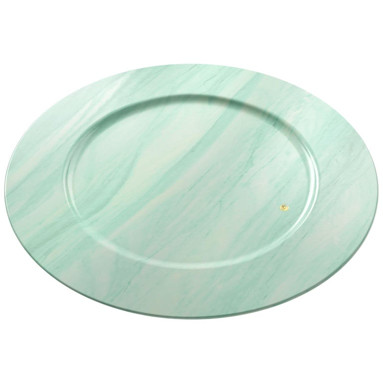 Charger Plate in Green Quartzite Contemporary Design by Pieruga Marble, Italy For Sale