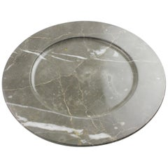 Charger Plate in Grey Marble, Hand Carved in Italy, Contemporary Design
