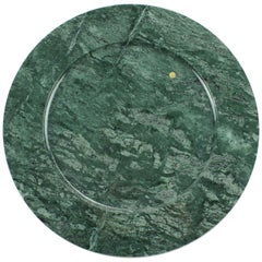 Charger Plate in Imperial Green Marble, Hand Carved, Contemporary Design