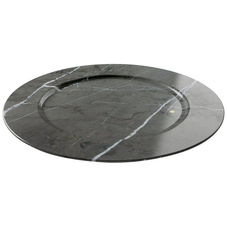 Charger Plate in Imperial Grey Marble Contemporary Design Pieruga Marble, Italy For Sale