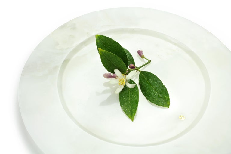 Modern Charger Plate in Solid White Onyx Contemporary Design by Pieruga Marble, Italy For Sale