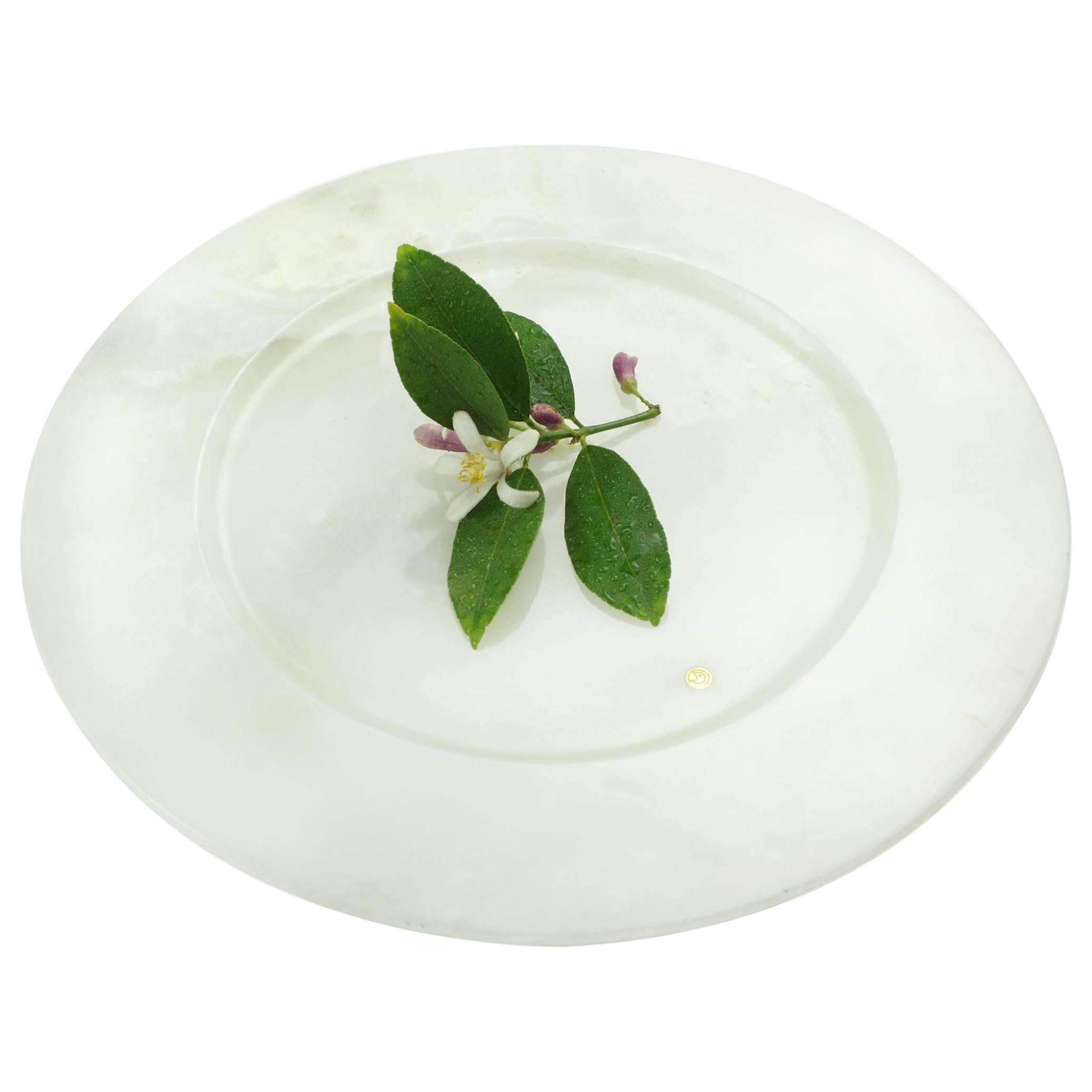 Charger Plate in Solid White Onyx Contemporary Design by Pieruga Marble, Italy