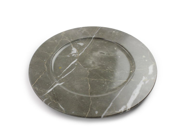 Charger Plates in Grey Marble, Handmade in Italy, Set of 6 For Sale 10
