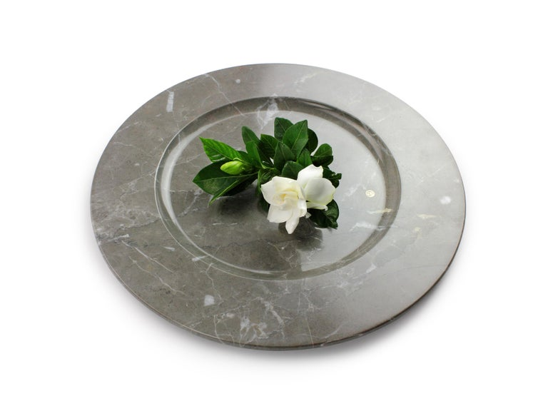 Italian Charger Plates in Grey Marble, Handmade in Italy, Set of 6 For Sale