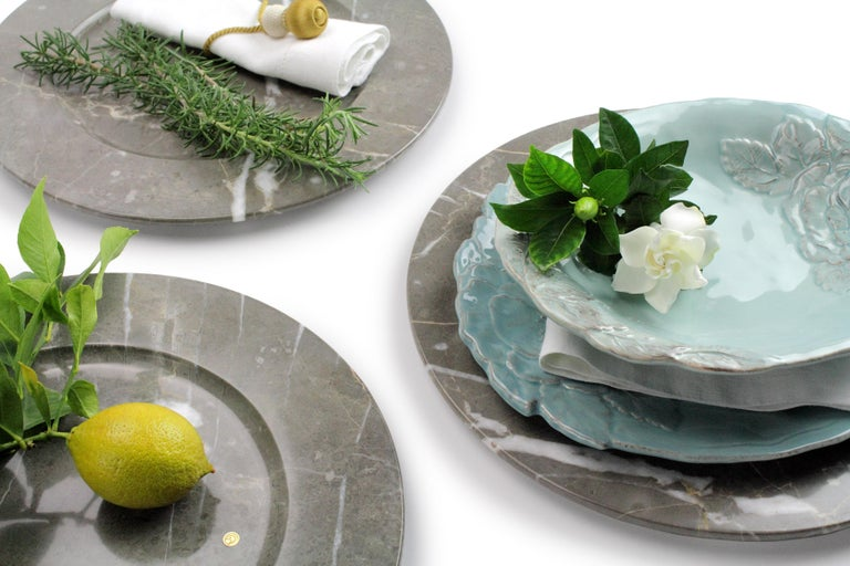 Contemporary Charger Plates in Grey Marble, Handmade in Italy, Set of 6 For Sale