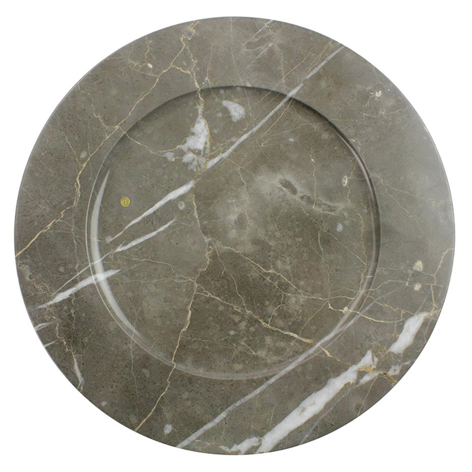 Charger Plates in Grey Marble, Handmade in Italy, Set of 6