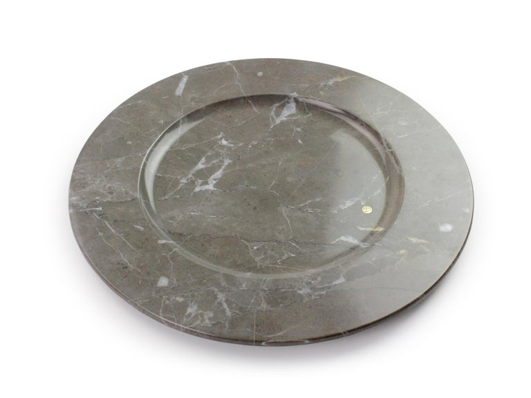 Charger Plates in Grey Marble, Handmade Made Italy, Set of 4 For Sale 3