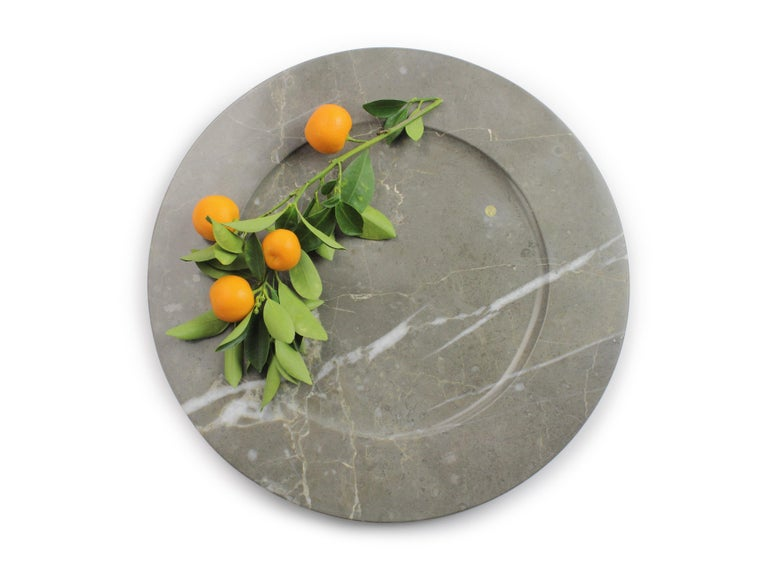 Charger Plates in Grey Marble, Handmade Made Italy, Set of 4 For Sale 6