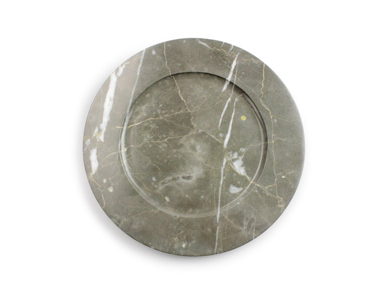 Charger Plates in Grey Marble, Handmade Made Italy, Set of 4 For Sale 7
