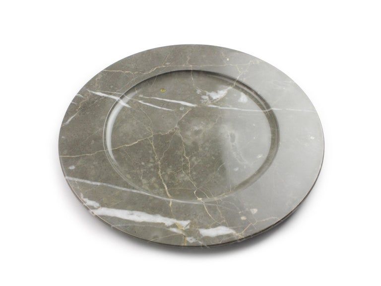 Charger Plates in Grey Marble, Handmade Made Italy, Set of 4 For Sale 8