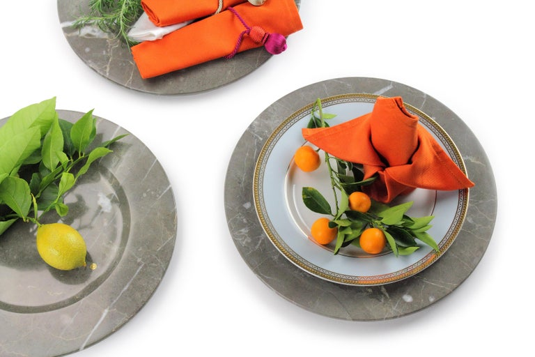 Modern Charger Plates in Grey Marble, Handmade Made Italy, Set of 4 For Sale