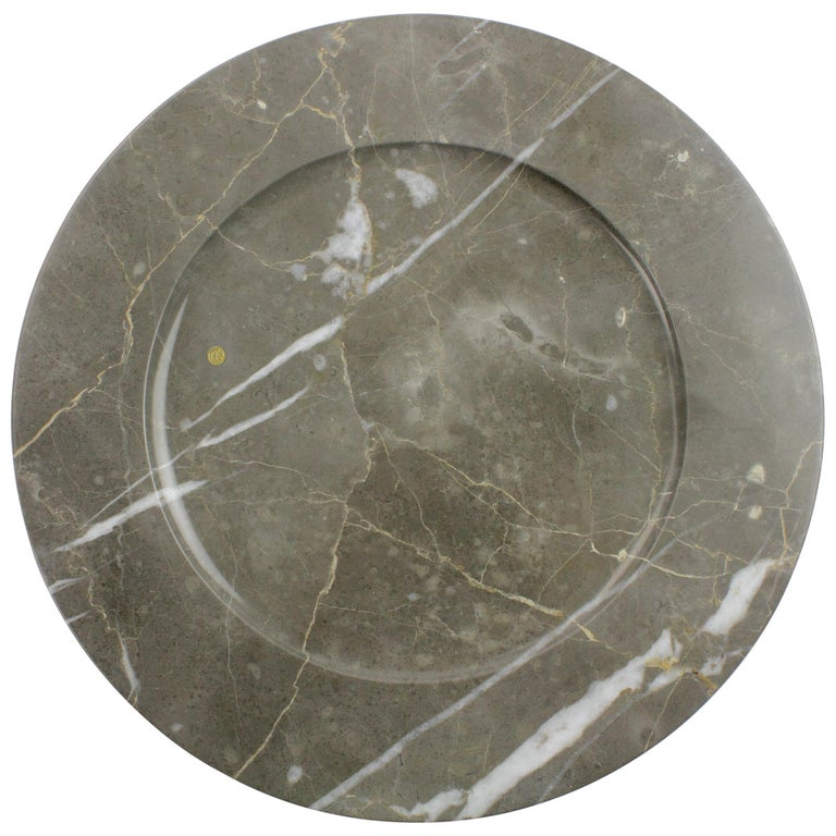 Charger Plates in Grey Marble, Handmade Made Italy, Set of 4 For Sale