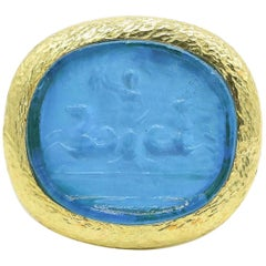 Chariot Blue Italian Murano Glass Carved Intaglio Ring 18 Karat Yellow Gold