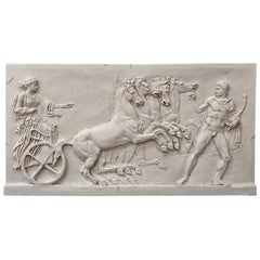 Chariot Four Horse Marble Plaque Left Large, 20th Century