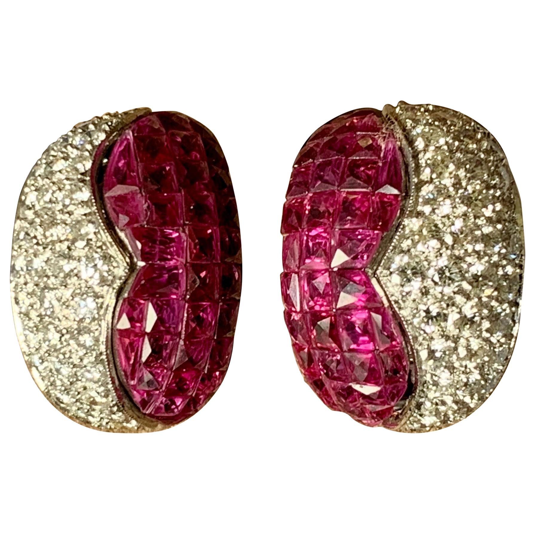 Charismatic and Eeegant 18 Karat Gold Invisible Set Ruby and Diamond Ear Clips