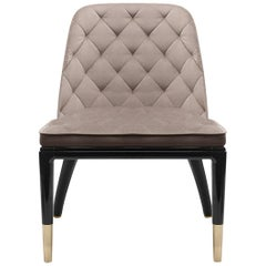 Charla II Dining Chair in Leather and Brass