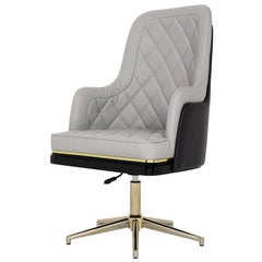 Charla Office Chair in Wood, Polished Brass and Black and Grey Leather