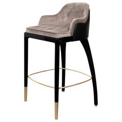 Charla Stool Chair in Leather and Velvet