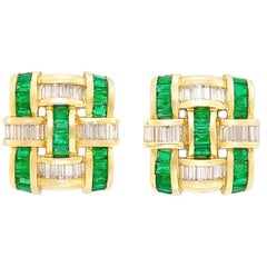 Charle Krypell, 1.90 Carat Diamond, Gold and Emerald Clip-On Earrings
