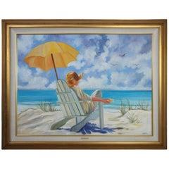 "Charlene Mitchell ""Repose"" Beach Ocean Portrait Landscape Oil Painting"