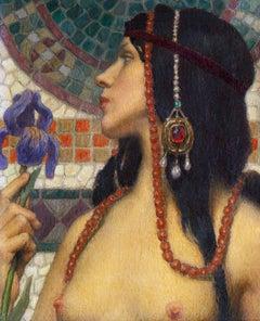 Art Nouveau Maiden with Purple Iris