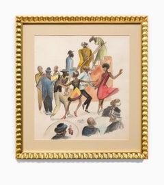 """Saturday Night"" Local Genre, Figurative, Dance, Harlem Renaissance, Signed"